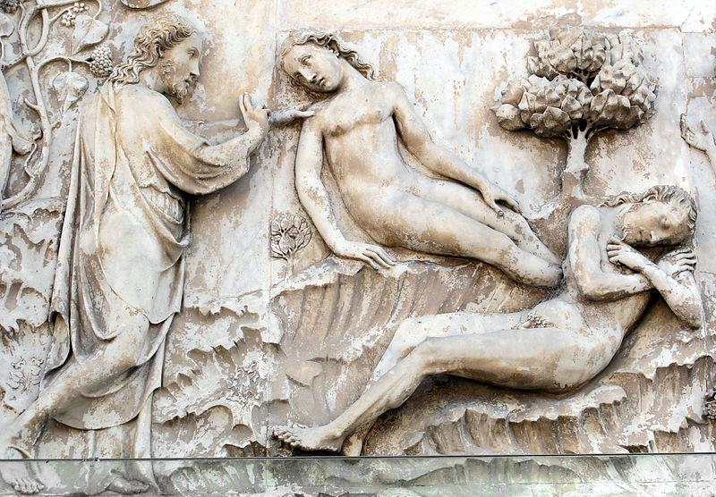 Bild: Lorenzo Maitani (1275-1330): Utsnitt av relieff på första pelaren i katedralen i Orvieto.
