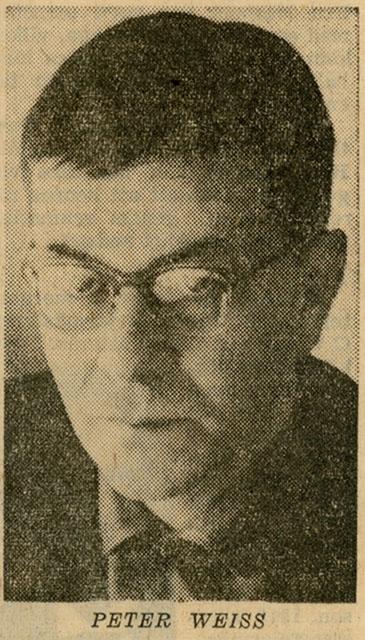 Den av VLT 650421 i anslutning till denna artikel publicerade bilden på Peter Weiss. (När detta läggs ut som bloggkapitel på www.vivaopera.se är det drygt femtio år sedan.)